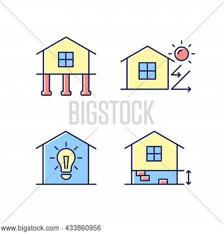 Residential Building Rgb Color Icons Set. Pile Foundation. Thermal Insulation. Electricity Supply To