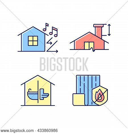 Home Construction Safety Rgb Color Icons Set. Sound Insulation. Minimum Chimney Height. Sanitation F