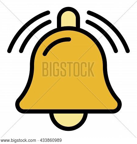 Bell Notification Sound Icon. Outline Bell Notification Sound Vector Icon Color Flat Isolated