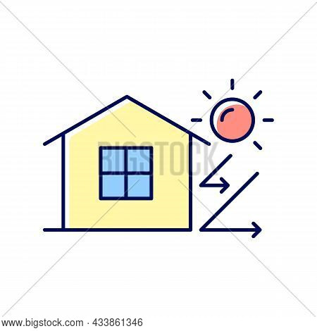 Heat Insulation Rgb Color Icon. House Isolation From Heat. Thermal Insulation. Keep Home Cool At Sum