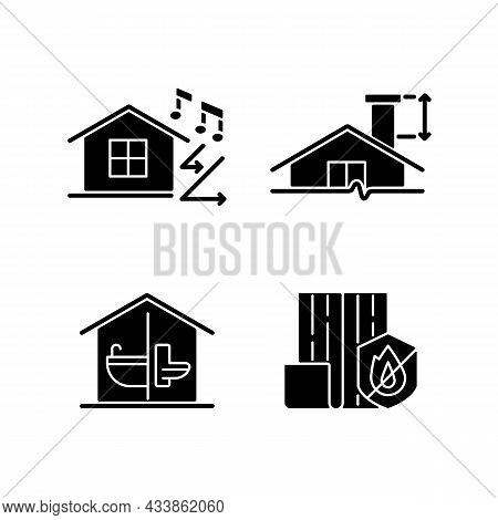 Home Construction Safety Black Glyph Icons Set On White Space. Sound Insulation. Minimum Chimney Hei