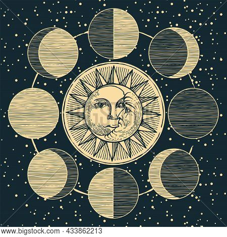 A Hand-drawn Banner With A Circle Of Lunar Phases, The Sun And The Moon With Human Faces Against A D