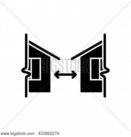 Minimum Distance Between Buildings Black Glyph Icon. Regulation For Human Habitation. Apartment Hous