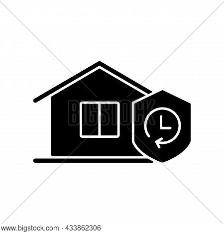 Durability Black Glyph Icon. Building Materials Reliability. House Lifespan Expectancy. Resistance T