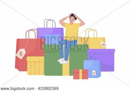Shopping Spree Flat Concept Vector Illustration. Consumerism And Retail. Shopaholic Surrounded By St