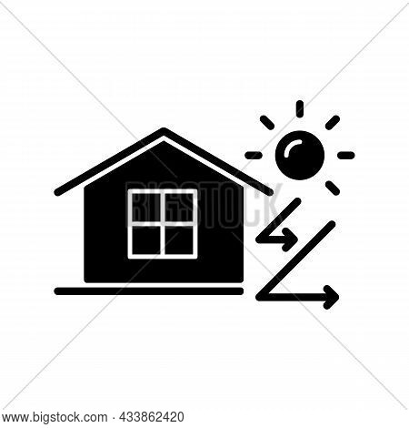 Heat Insulation Black Glyph Icon. House Isolation From Heat. Thermal Insulation. Keep Home Cool At S