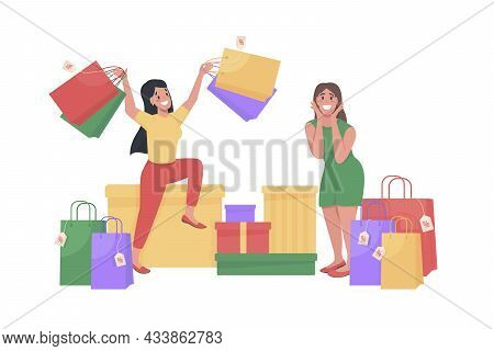 Women With Shopping Bags Semi Flat Color Vector Character. Posing Figures. Full Body People On White