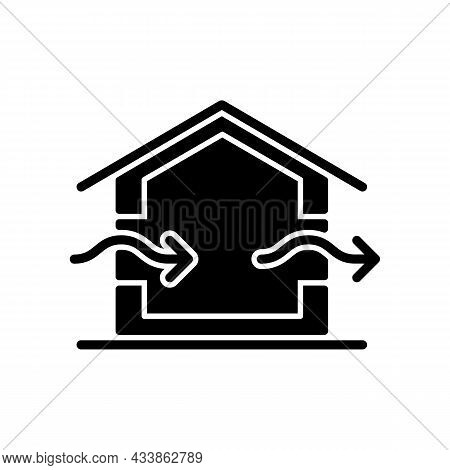 Ventilation System Black Glyph Icon. Providing Natural Ventilation In Building. Improving Indoor Air
