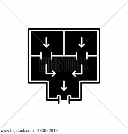Means To Vacate Building Black Glyph Icon. Planning Apartment Building Escape. Evacuation Route. Eme