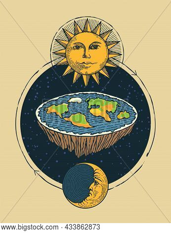 Decorative Banner With Flat Earth In Space With The Sun And Moon. Old Vision Of Solar System And Pla