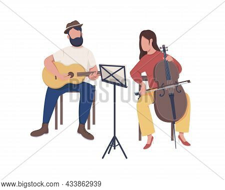 Musicians Band Semi Flat Color Vector Characters. Sitting Figures. Full Body People On White. Buskin