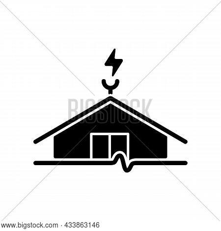Lightning Rod Black Glyph Icon. Protecting Buildings From Lightning Strike Damage. Discharging Dange