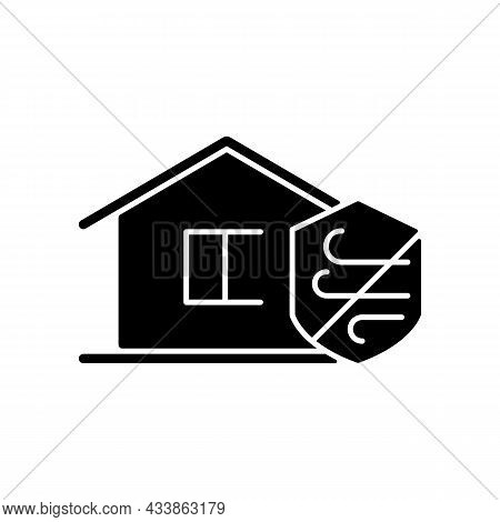 Weather Resistance Black Glyph Icon. Weatherproofing Apartment Building. Hurricane-resistant Home. W