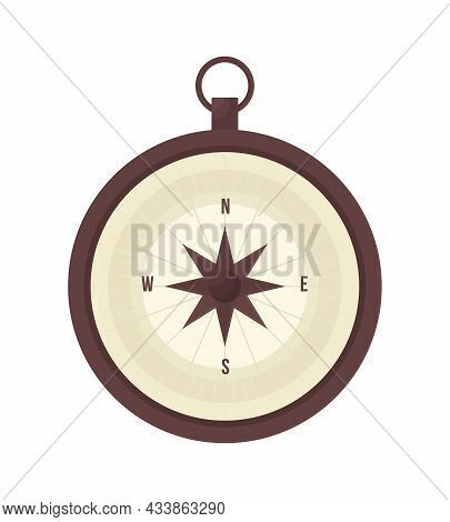 Compass Semi Flat Color Vector Object. Full Realistic Item On White. Topography Guide. Navigation In