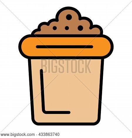 Pot With Soil Icon. Outline Pot With Soil Vector Icon Color Flat Isolated