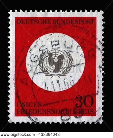 ZAGREB, CROATIA - JUNE 25, 2014: Stamp printed in Germany showing UNICEF emblem, Awarding of the 1965 Nobel Peace Prize to UNICEF, circa 1966