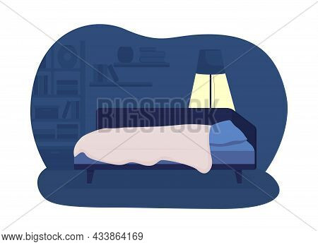 Child Bedroom 2d Vector Isolated Illustration. Comfortable Home And Bedding For Children. Nighttime
