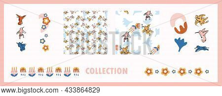 Abstract Playful Exotic Humming Bird Shape Collection. Seamless Modern Simple Collage Style Design F
