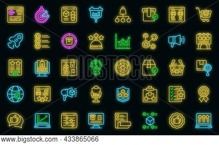 Featured Product Icons Set. Outline Set Of Featured Product Vector Icons Neon Color On Black