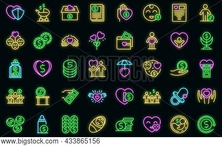Child Support Icons Set Outline Vector. Family Childcare. Adoption Child Protect