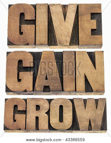 give, gain and grow -personal development or motivational concept - isolated word in vintage letterpress wood type printing blocks