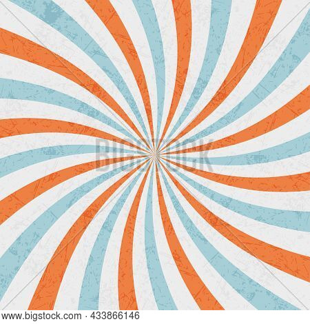 Background With Abstract Rays. Blue, Orange And White Rays. Vector Background.