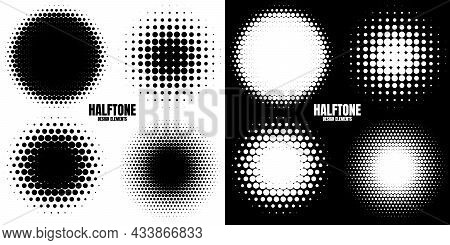 Circle Halftone Design Elements With Black Dots Isolated On White Background. Comic Dotted Pattern.v