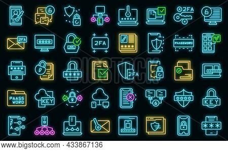 Two Factor Authentication Icons Set Outline Vector. Code Certificate. Online Validation