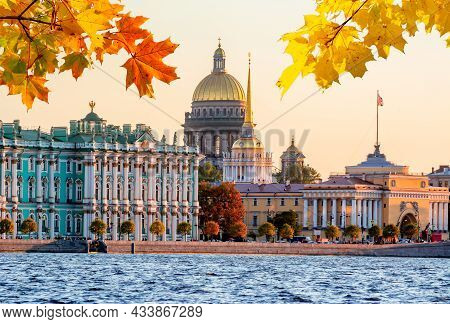 St. Petersburg Cityscape With St. Isaac's Cathedral, Hermitage Museum And Admiralty In Autumn Sunset