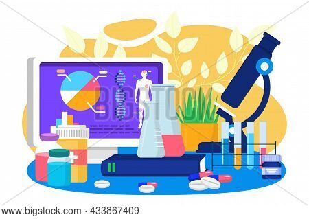 Science Laboratory With Medicine Analysis, Vector Illustration, Innovation Lab With Chemistry Resear