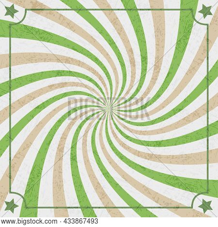 Green, Brown And White Rays. Abstract Rays Background. Vector Background.