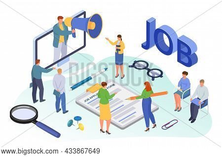 Job Recruiting Isometric, Vector Illustration, Employment For Tiny Man Woman Character, Flat Person
