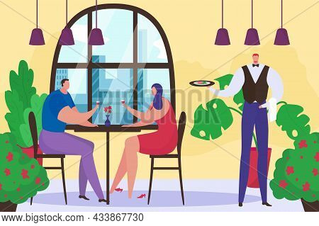 Restaurant With Love Couple At Romantic Date, Vector Illustration, Flat People Man Woman Character H