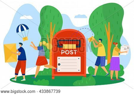 Mailbox For Post, Vector Illustration, Flat Man Woman Character Send Mail Envelope, Communication By