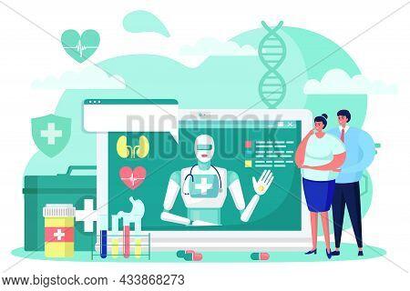 Future Medicine Cyborg Online Medical Technology, Vector Illustration, Futuristic Robot Help People