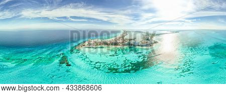 Aerial 360 Panoramic View Of Cancun Beach And City Hotel Zone In Mexico. Caribbean Coast Landscape O