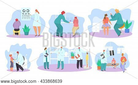 Pediatrician Doctor Appointment, Isolated On White Set, Vector Illustration Edical Examination For B