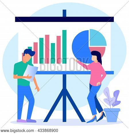 Vector Illustration Of Flat Style Presentation Of Business People With Colleagues. Training Conferen