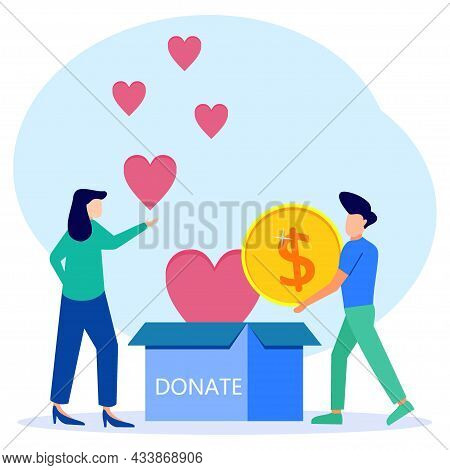 Flat Style Vector Illustration Of Volunteer Team Helping Charity And Sharing Hope. The Care, Love An
