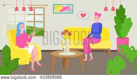 Psychologist Talk With Patient, Vector Illustration, Psychotherapy For Woman Character, Doctor Make