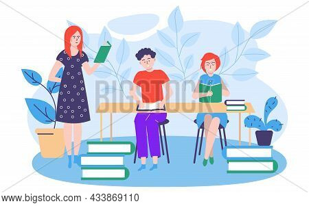 Study Education Concept, Vector Illustration, People Man Woman Character Get Knowledge At School Cla