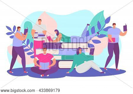 Reading Books Concept, Vector Illustration, Flat Man Woman Character Study School Knowledge For Educ