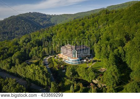 Ustron, Poland - June 4, 2021: Hotel Belweder in Ustron situated in the hills of the Silesian Beskids, Poland