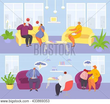 Psychologist Session For Couple, Family Set, Vector Illustration, Man Woman People Character At Psyc
