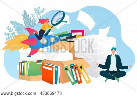 Search Document Concept, Vector Illustration, Archive Management Design, Tiny Flat Man Worker Charac