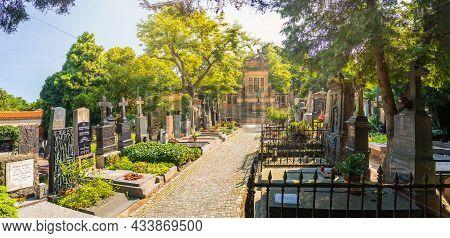 Prague, Czech Republic - 08 12 2021: Vysehrad Cemetery, Prague, Czech Republic - Panorama Of The Cem