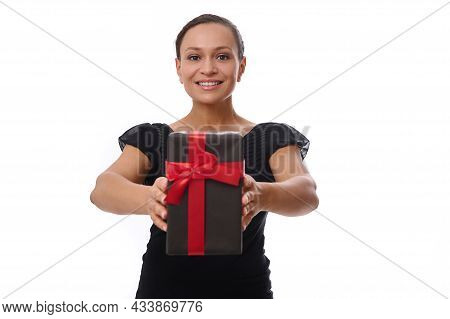 Gorgeous Beautiful Cheerful Young Woman Of African American Ethnicity Dressed In Black And Smiles Wi