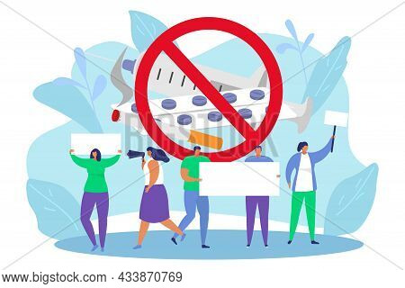Protest To Stop Illegal Drugs, Vector Illustration, Flat Man Woman Character Hold Empty Banner In Ha