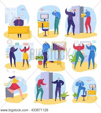 Business Problem At Office Set, Vector Illustration, Man Woman Character Employee Work With Paper Do