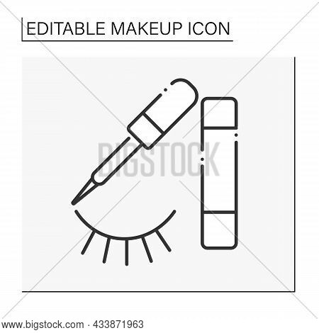 Eyeliner Line Icon. Cosmetic Product. Special Cosmetics For Eyes To Appear Larger Or More Noticeable